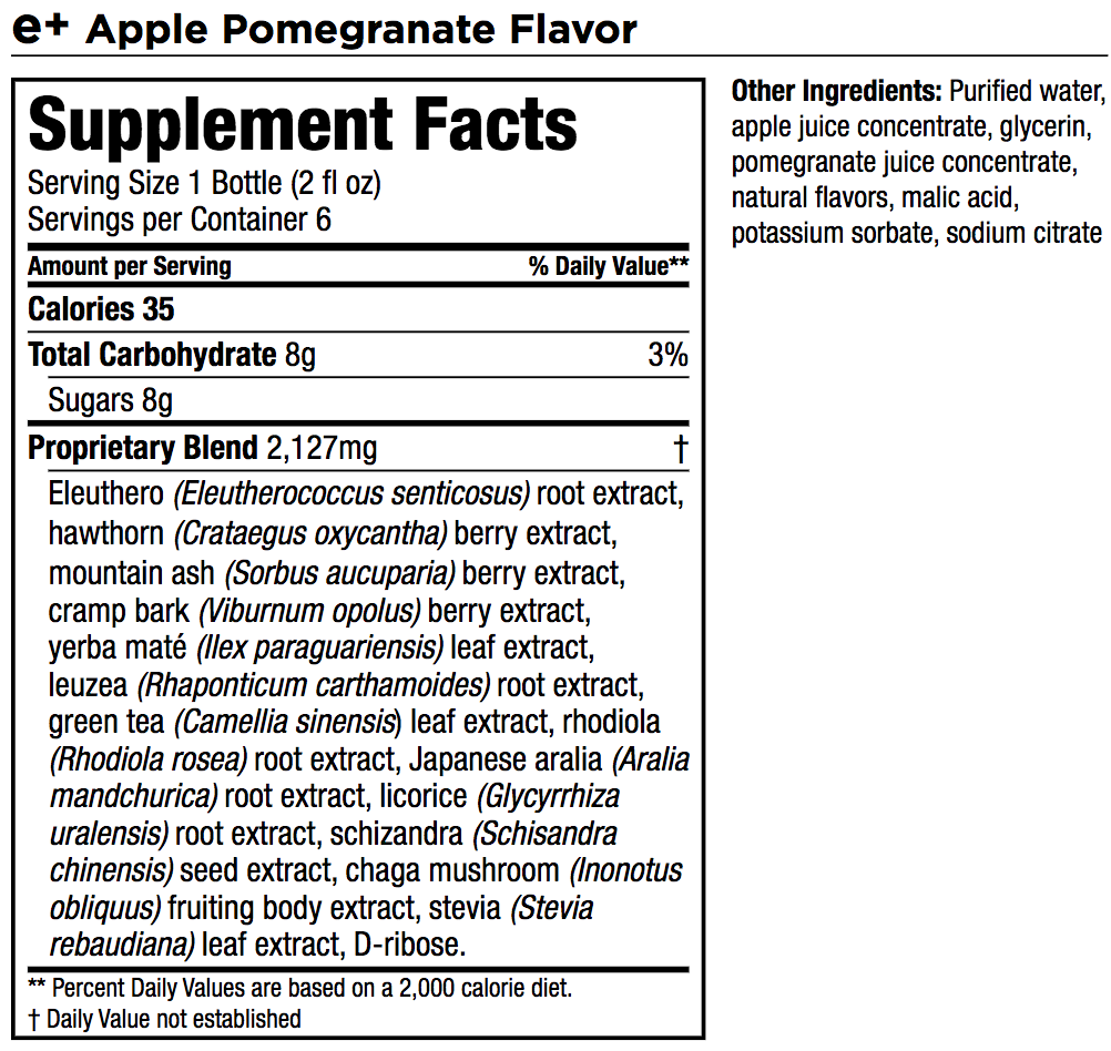 Ingredients for an Isagenix e+shot